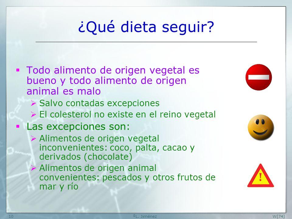 W [74] ©L. Jiménez. ¿Qué dieta seguir Todo alimento de origen vegetal es bueno y todo alimento de origen animal es malo.